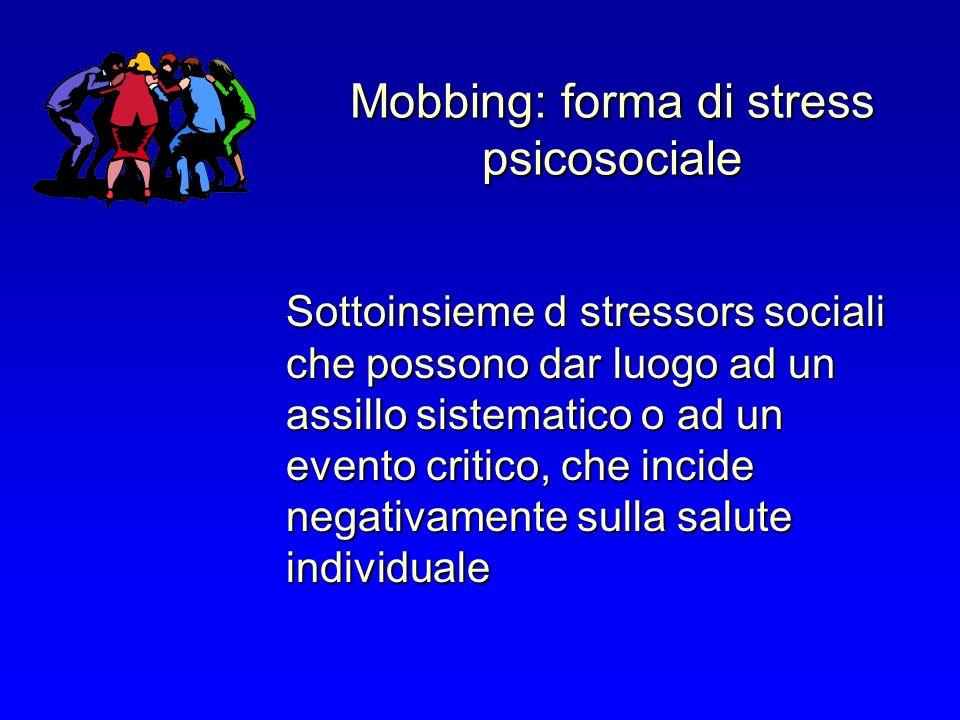 Mobbing: forma di stress psicosociale Sottoinsieme d stressors sociali che possono dar luogo ad un assillo sistematico o ad un evento critico, che incide negativamente sulla salute individuale