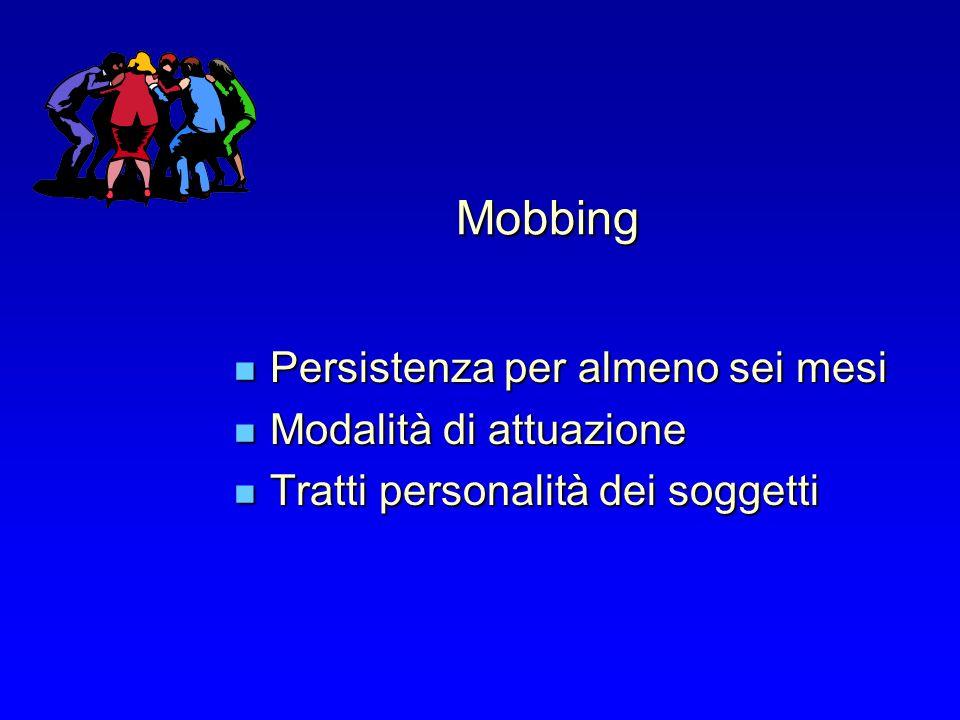 Mobbing Persistenza per almeno sei mesi Persistenza per almeno sei mesi Modalità di attuazione Modalità di attuazione Tratti personalità dei soggetti Tratti personalità dei soggetti