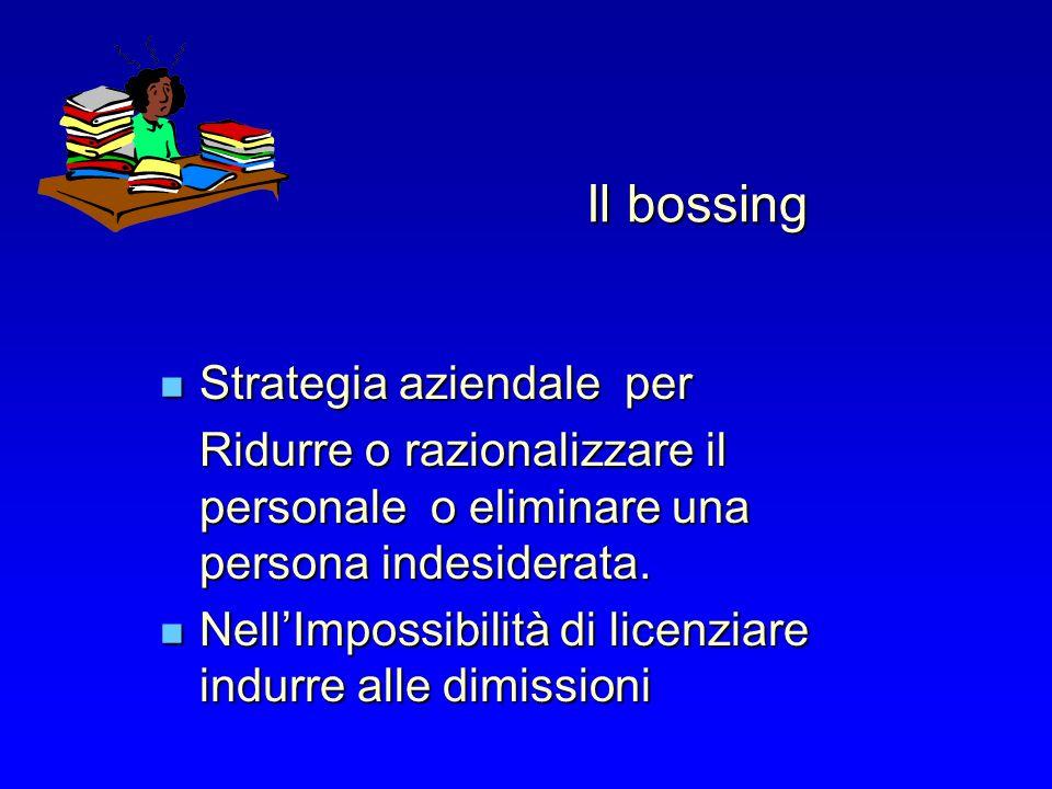 Il bossing Strategia aziendale per Strategia aziendale per Ridurre o razionalizzare il personale o eliminare una persona indesiderata. NellImpossibili