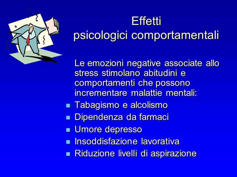 Effetti psicologici comportamentali Le emozioni negative associate allo stress stimolano abitudini e comportamenti che possono incrementare malattie m