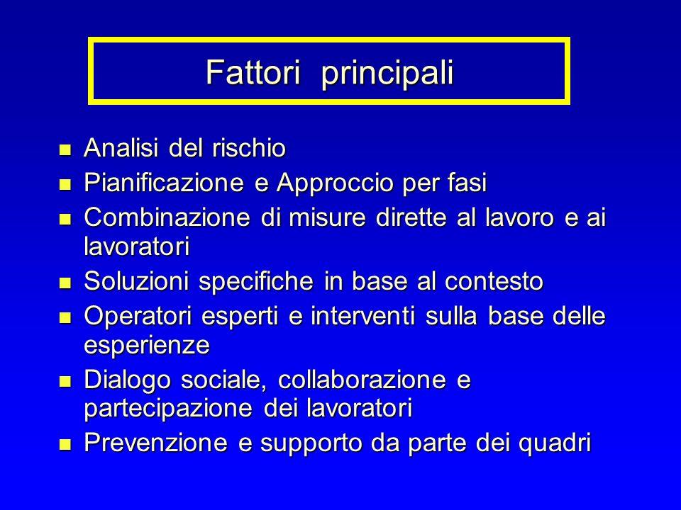 Fattori principali Analisi del rischio Analisi del rischio Pianificazione e Approccio per fasi Pianificazione e Approccio per fasi Combinazione di mis