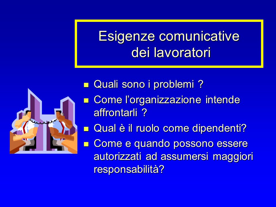 Esigenze comunicative dei lavoratori Quali sono i problemi .