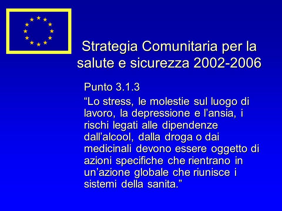 Strategia Comunitaria per la salute e sicurezza 2002-2006 Punto 3.1.3 Lo stress, le molestie sul luogo di lavoro, la depressione e lansia, i rischi le