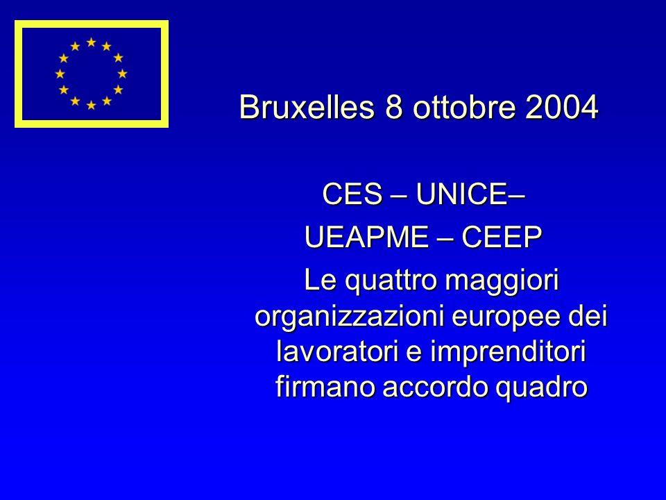 Bruxelles 8 ottobre 2004 CES – UNICE– CES – UNICE– UEAPME – CEEP UEAPME – CEEP Le quattro maggiori organizzazioni europee dei lavoratori e imprenditori firmano accordo quadro Le quattro maggiori organizzazioni europee dei lavoratori e imprenditori firmano accordo quadro