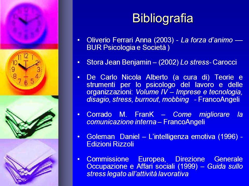 Bibliografia Oliverio Ferrari Anna (2003) - La forza danimo –– BUR Psicologia e Società ) Stora Jean Benjamin – (2002) Lo stress- Carocci De Carlo Nic