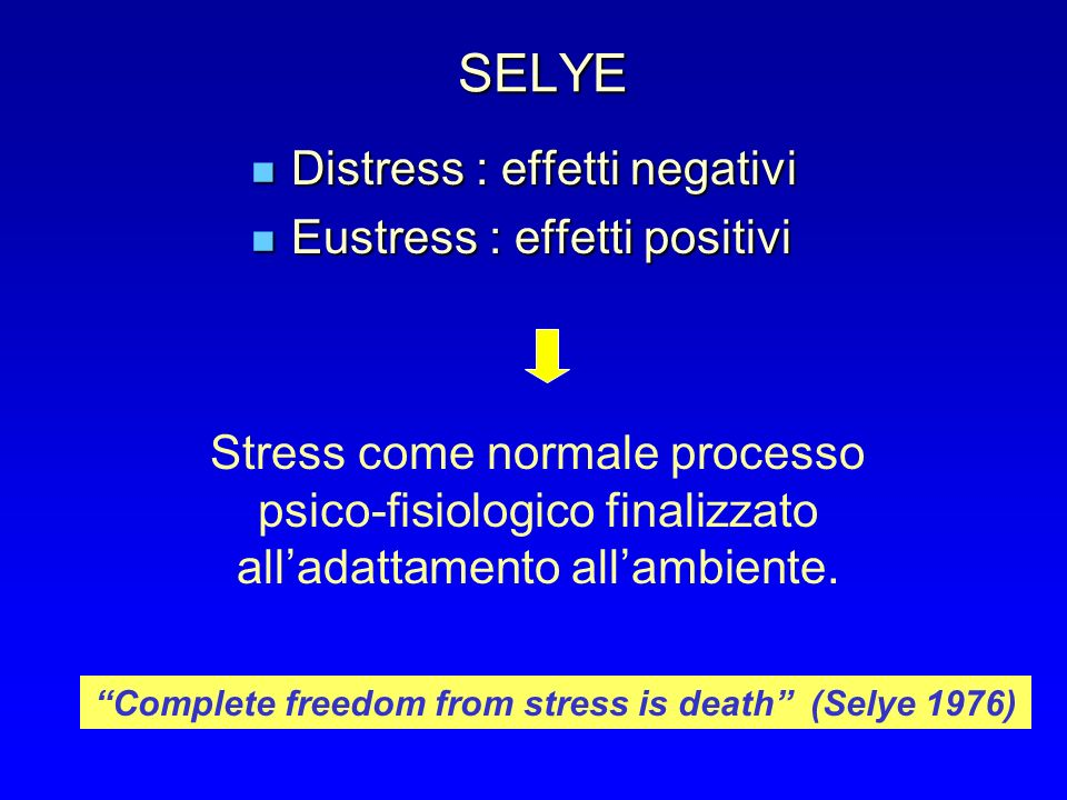 SELYE Distress : effetti negativi Distress : effetti negativi Eustress : effetti positivi Eustress : effetti positivi Stress come normale processo psico-fisiologico finalizzato alladattamento allambiente.