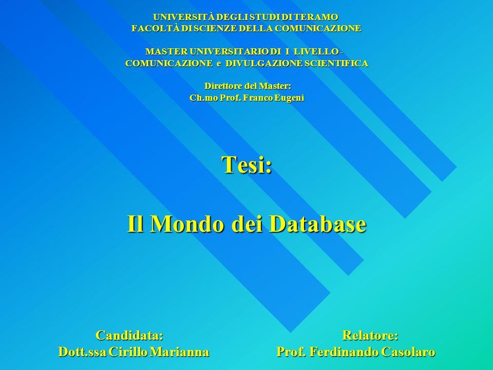 Database Relazionale: Il più diffuso modello di database Costituito da Tabelle