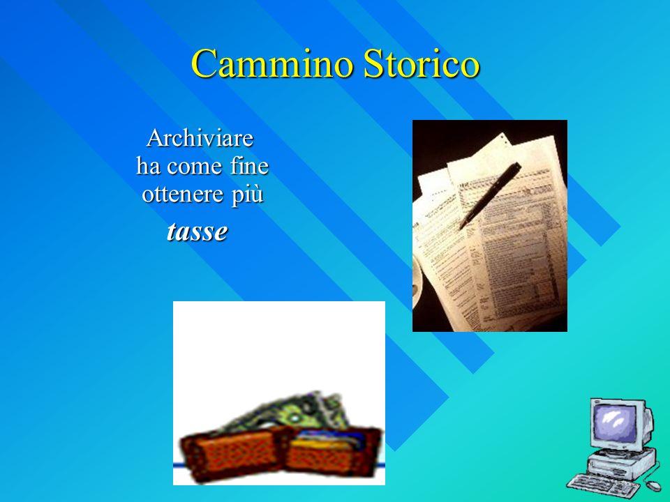 Cammino Storico Archiviare ha come fine ottenere più Archiviare ha come fine ottenere più tasse tasse