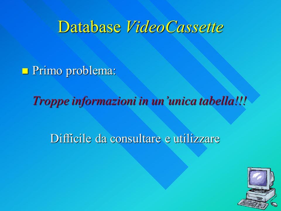 Database VideoCassette Primo problema: Troppe informazioni in ununica tabella!!! Primo problema: Troppe informazioni in ununica tabella!!! Difficile d