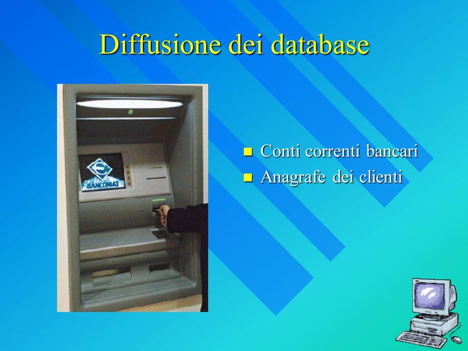 Diffusione dei database Conti correnti bancari Anagrafe dei clienti