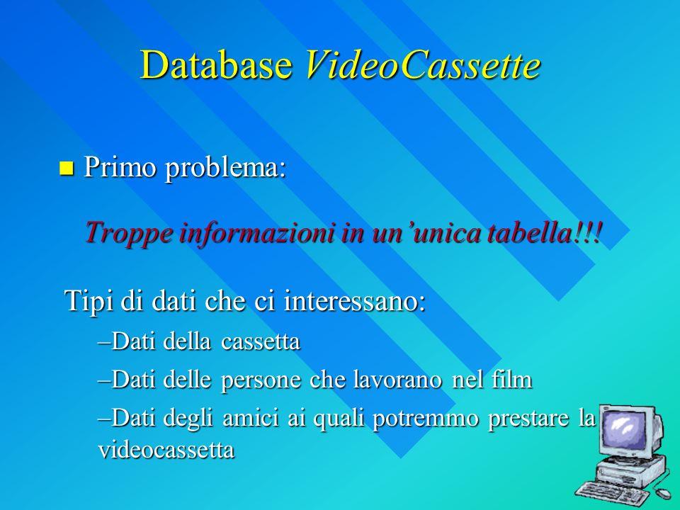 Database VideoCassette Primo problema: Troppe informazioni in ununica tabella!!! Primo problema: Troppe informazioni in ununica tabella!!! Tipi di dat
