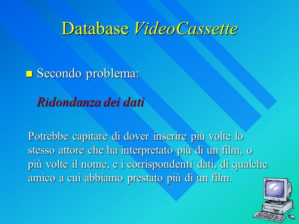 Database VideoCassette Secondo problema: Ridondanza dei dati Secondo problema: Ridondanza dei dati Potrebbe capitare di dover inserire più volte lo st