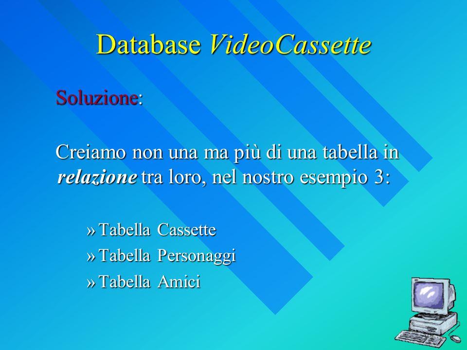Database VideoCassette Creiamo non una ma più di una tabella in relazione tra loro, nel nostro esempio 3: Creiamo non una ma più di una tabella in relazione tra loro, nel nostro esempio 3: »Tabella Cassette »Tabella Personaggi »Tabella Amici Soluzione:
