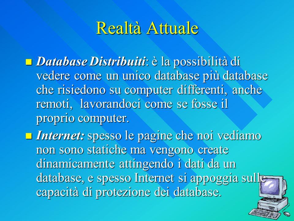 Realtà Attuale Database Distribuiti: è la possibilità di vedere come un unico database più database che risiedono su computer differenti, anche remoti