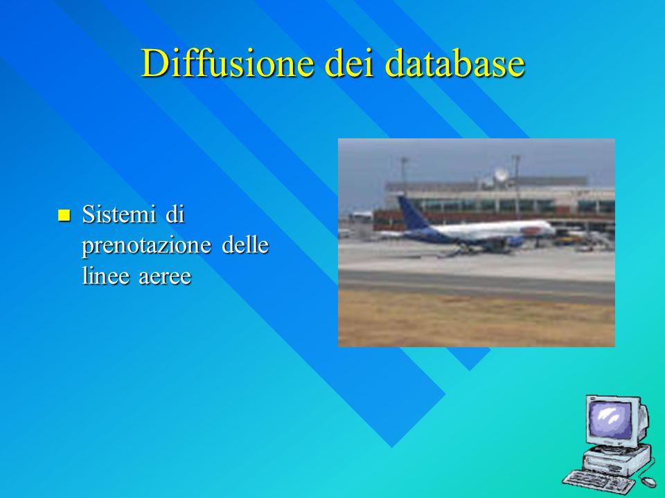 Diffusione dei database Sistemi di prenotazione delle linee aeree Sistemi di prenotazione delle linee aeree