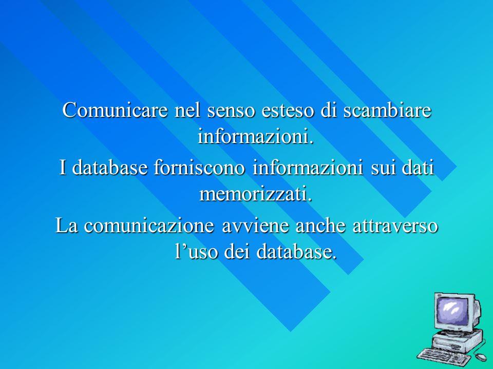 Comunicare nel senso esteso di scambiare informazioni. I database forniscono informazioni sui dati memorizzati. La comunicazione avviene anche attrave