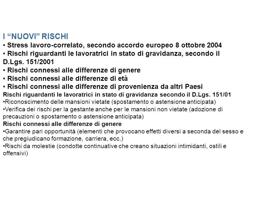 I NUOVI RISCHI Stress lavoro-correlato, secondo accordo europeo 8 ottobre 2004 Rischi riguardanti le lavoratrici in stato di gravidanza, secondo il D.