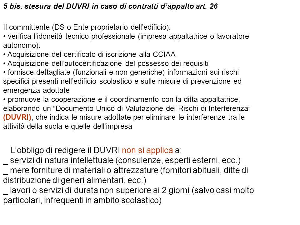 5 bis. stesura del DUVRI in caso di contratti dappalto art. 26 Il committente (DS o Ente proprietario delledificio): verifica lidoneità tecnico profes