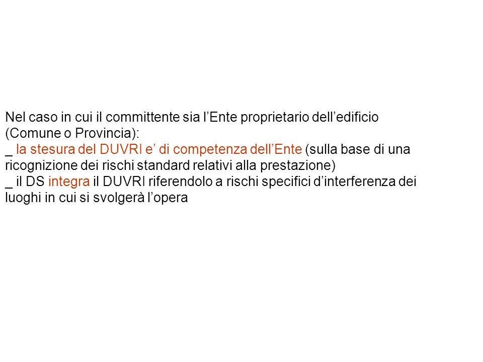 Nel caso in cui il committente sia lEnte proprietario delledificio (Comune o Provincia): _ la stesura del DUVRI e di competenza dellEnte (sulla base d