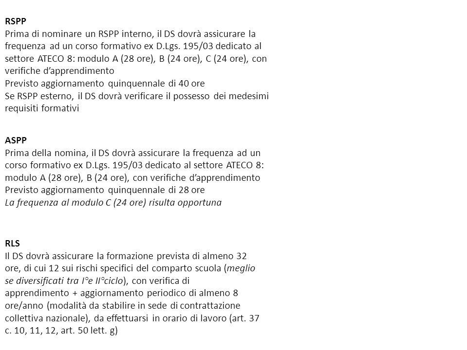 RSPP Prima di nominare un RSPP interno, il DS dovrà assicurare la frequenza ad un corso formativo ex D.Lgs. 195/03 dedicato al settore ATECO 8: modulo