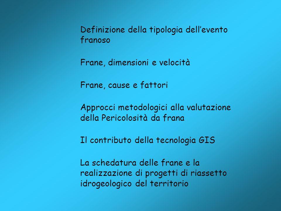 Definizione della tipologia dellevento franoso Frane, dimensioni e velocità Frane, cause e fattori Approcci metodologici alla valutazione della Perico