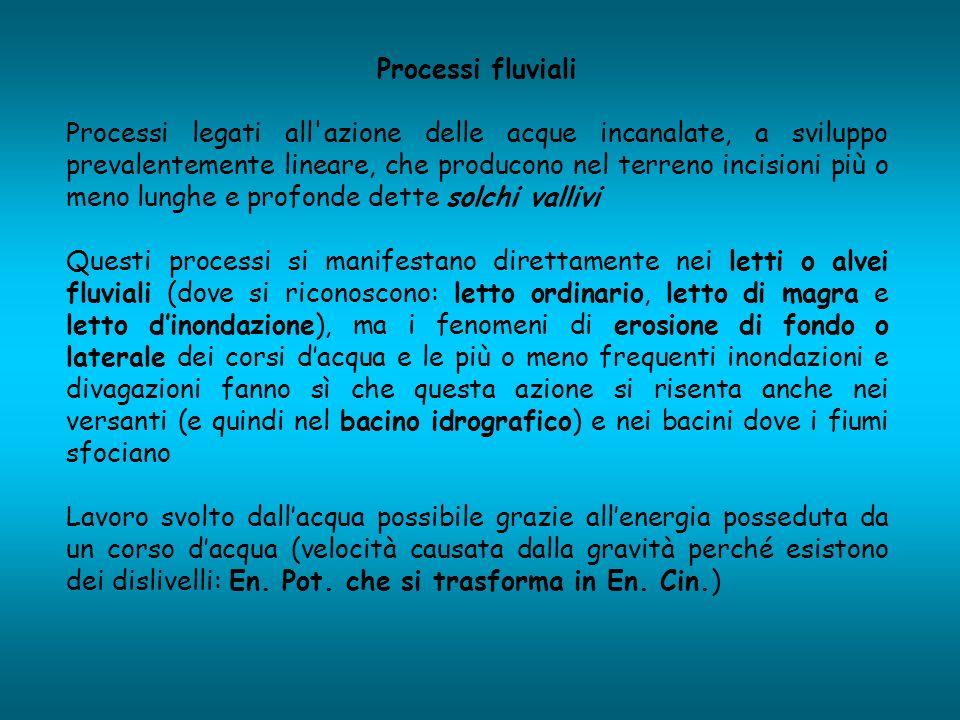 Processi fluviali Processi legati all'azione delle acque incanalate, a sviluppo prevalentemente lineare, che producono nel terreno incisioni più o men