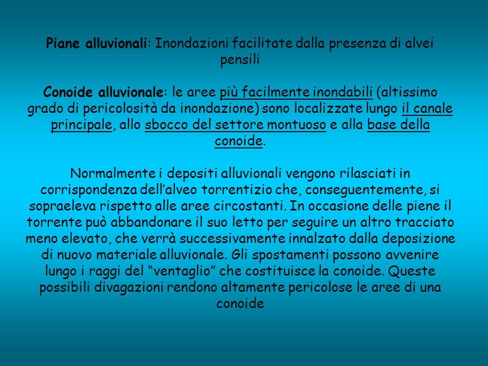 Piane alluvionali: Inondazioni facilitate dalla presenza di alvei pensili Conoide alluvionale: le aree più facilmente inondabili (altissimo grado di p