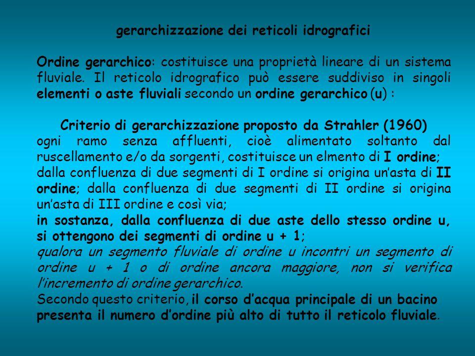 gerarchizzazione dei reticoli idrografici Ordine gerarchico: costituisce una proprietà lineare di un sistema fluviale. Il reticolo idrografico può ess