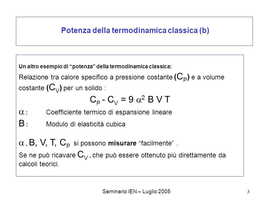 Seminario IEN – Luglio 200534 Schema di un calcolo ab initio di Dinamica reticolare Definizione del cristallo : Atomi costituenti, gruppo spaziale, geometria iniziale Definizione delle condizioni del calcolo: Hamiltoniana [HF, DFT (a,b,c…)] Base rappresentativa Tolleranze varie PARTE A : Calcolo self-consistent: Determinazione della configurazione dequilibrio (R 0 ) e corrispondente energia (E 0 0 ) PARTE B : Calcolo dell effetto dello spostamento dei nuclei >>>> matrice Dinamica W(k) PARTE C : Calcolo e caratterizzazione dei modi di vibrazione (fononi) Calcolo delle grandezze termodinamiche (contributo vibrazionale)