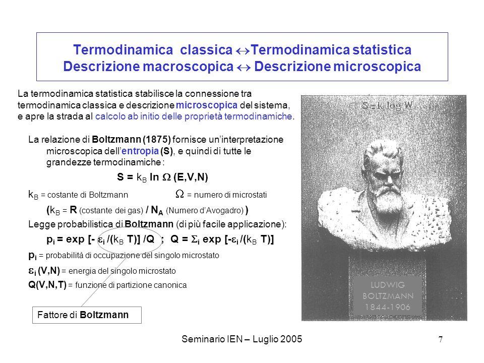 Seminario IEN – Luglio 20058 Il principio di equipartizione e la legge di Dulong e Petit Risultati della termodinamica statistica pre-quantistica: -La teoria cinetica dei gas e la distribuzione di Maxwell-Boltzmann… -Il principio di equipartizione dellenergia: Lenergia di un sistema si ripartisce uniformemente tra i vari gradi di libertà, e per ognuno vale 1/2 k B T Lo si dimostra nellipotesi di un continuo di energia per ciascun grado di libertà.