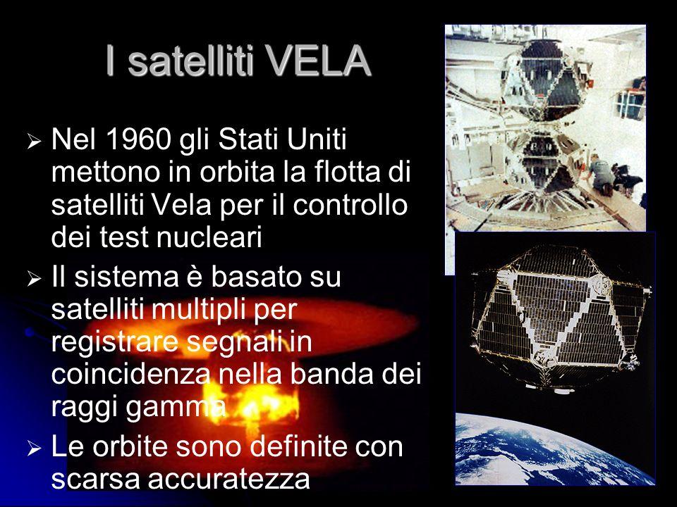 28 I satelliti VELA Nel 1960 gli Stati Uniti mettono in orbita la flotta di satelliti Vela per il controllo dei test nucleari Il sistema è basato su satelliti multipli per registrare segnali in coincidenza nella banda dei raggi gamma Le orbite sono definite con scarsa accuratezza