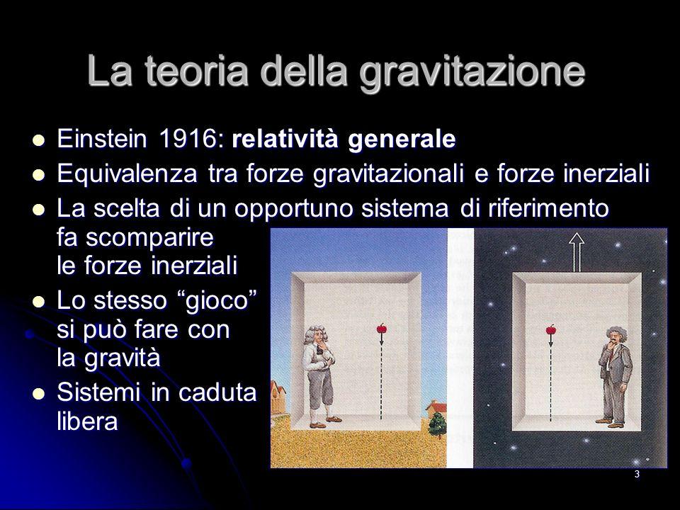 3 La teoria della gravitazione Einstein 1916: relatività generale Einstein 1916: relatività generale Equivalenza tra forze gravitazionali e forze inerziali Equivalenza tra forze gravitazionali e forze inerziali La scelta di un opportuno sistema di riferimento fa scomparire le forze inerziali La scelta di un opportuno sistema di riferimento fa scomparire le forze inerziali Lo stesso gioco si può fare con la gravità Lo stesso gioco si può fare con la gravità Sistemi in caduta libera Sistemi in caduta libera