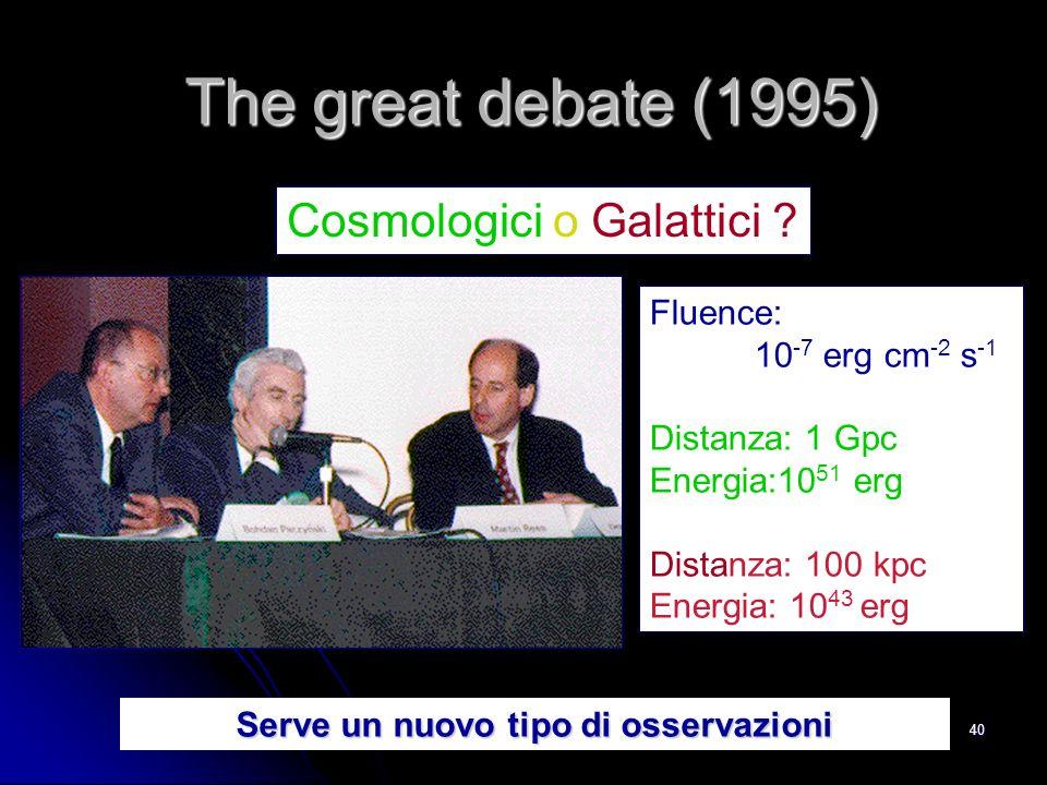 40 Fluence: 10 -7 erg cm -2 s -1 Distanza: 1 Gpc Energia:10 51 erg Distanza: 100 kpc Energia: 10 43 erg Cosmologici o Galattici .