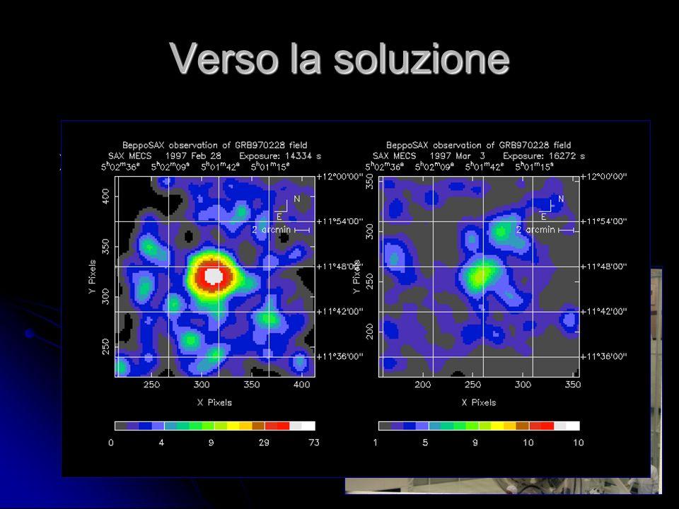 41 Verso la soluzione Nel 1997 il satellite scientifico italiano BeppoSAX rivela emissione di raggi X da una zona del cielo 8 ore dopo un lampo gamma Nel 1997 il satellite scientifico italiano BeppoSAX rivela emissione di raggi X da una zona del cielo 8 ore dopo un lampo gamma
