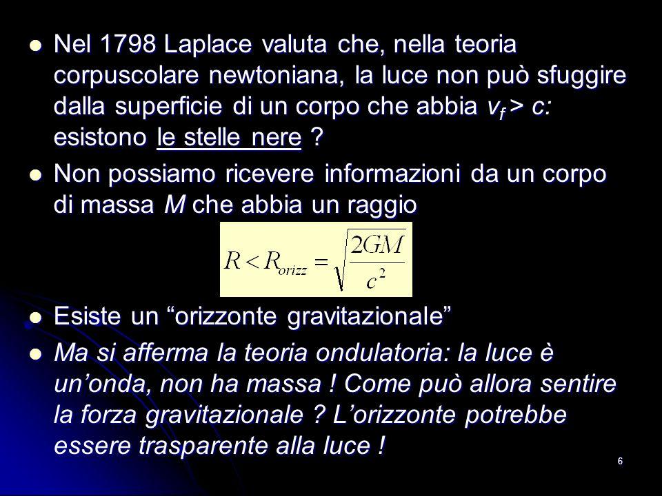 6 Nel 1798 Laplace valuta che, nella teoria corpuscolare newtoniana, la luce non può sfuggire dalla superficie di un corpo che abbia v f > c esistono le stelle nere .