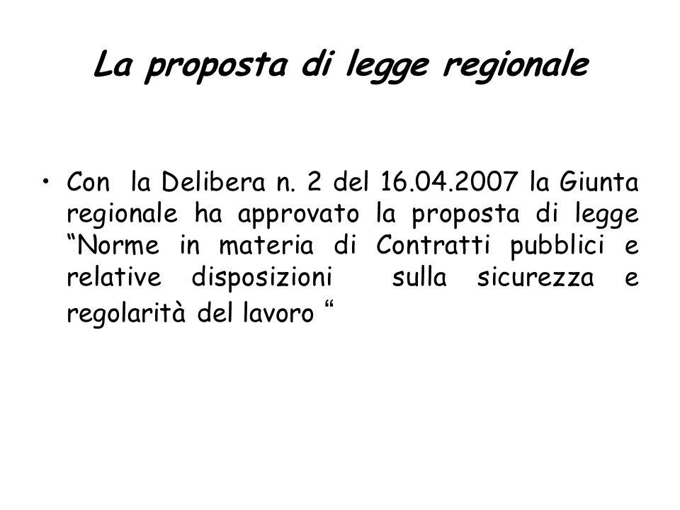 La proposta di legge regionale Con la Delibera n.