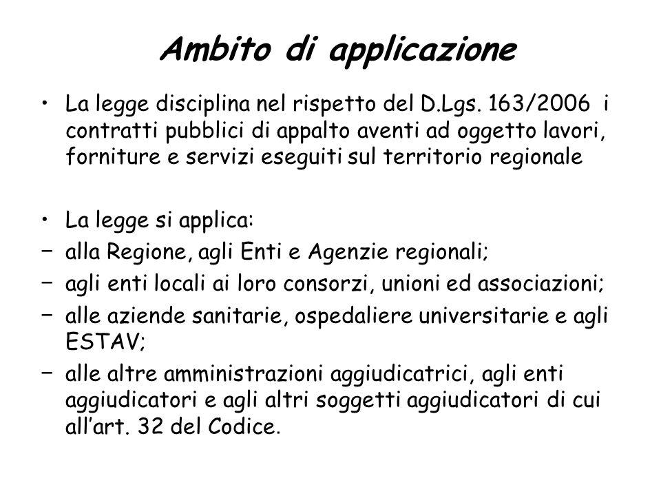 Ambito di applicazione La legge disciplina nel rispetto del D.Lgs.
