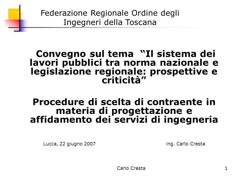 Carlo Cresta1 Convegno sul tema Il sistema dei lavori pubblici tra norma nazionale e legislazione regionale: prospettive e criticità Procedure di scel