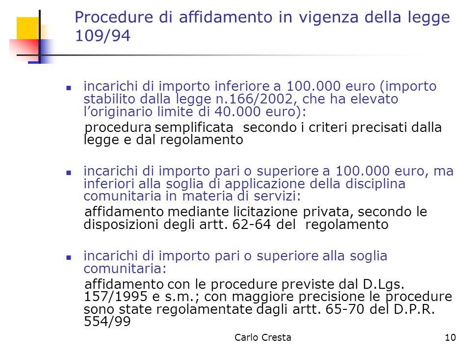 Carlo Cresta10 Procedure di affidamento in vigenza della legge 109/94 incarichi di importo inferiore a 100.000 euro (importo stabilito dalla legge n.1