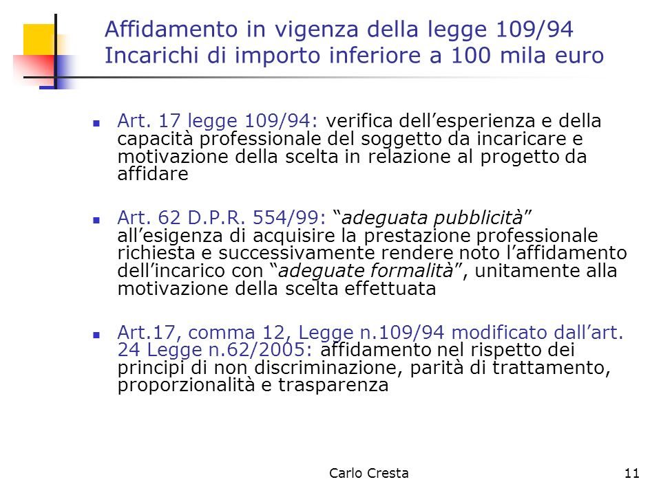 Carlo Cresta11 Affidamento in vigenza della legge 109/94 Incarichi di importo inferiore a 100 mila euro Art. 17 legge 109/94: verifica dellesperienza