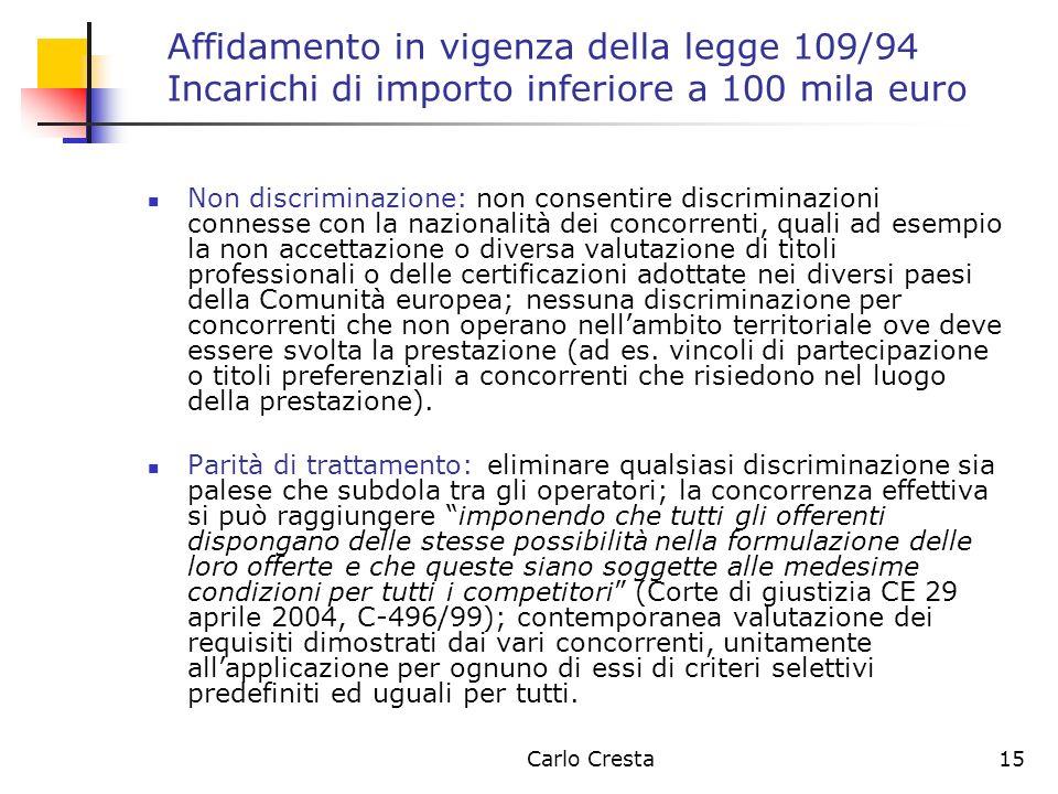 Carlo Cresta15 Affidamento in vigenza della legge 109/94 Incarichi di importo inferiore a 100 mila euro Non discriminazione: non consentire discrimina