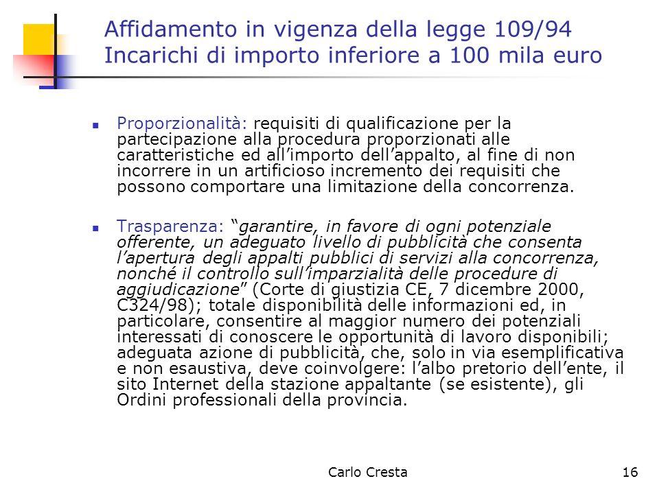 Carlo Cresta16 Affidamento in vigenza della legge 109/94 Incarichi di importo inferiore a 100 mila euro Proporzionalità: requisiti di qualificazione p