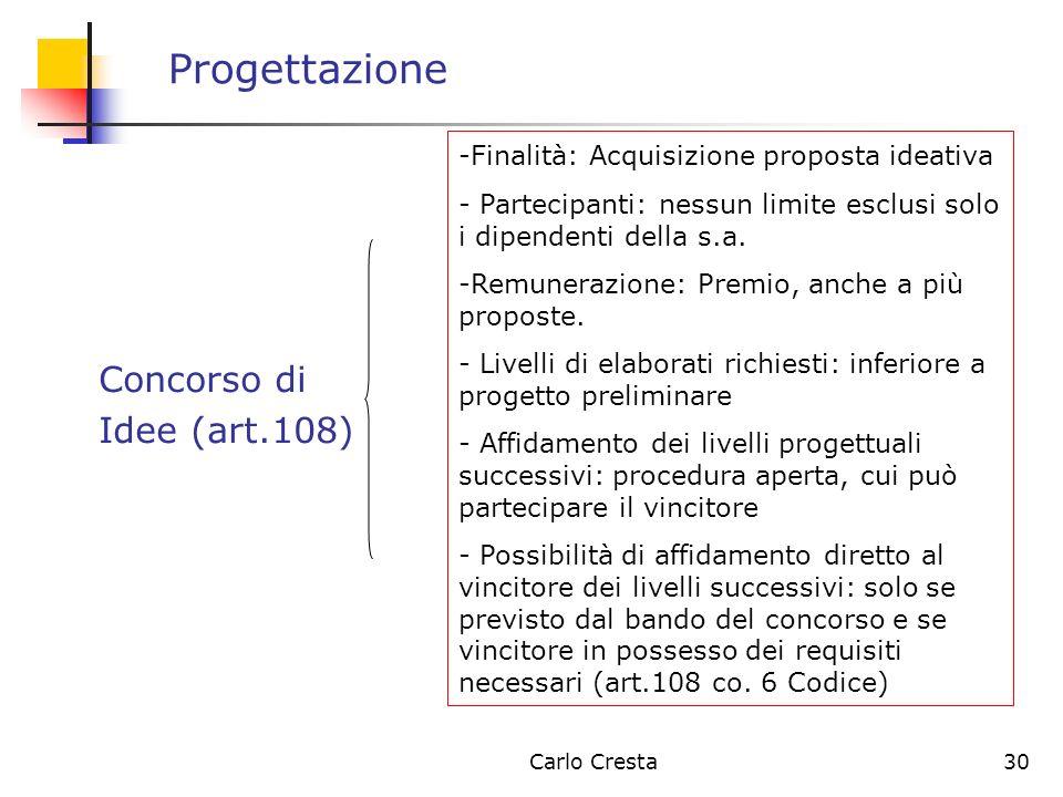 Carlo Cresta30 Progettazione Concorso di Idee (art.108) -Finalità: Acquisizione proposta ideativa - Partecipanti: nessun limite esclusi solo i dipende