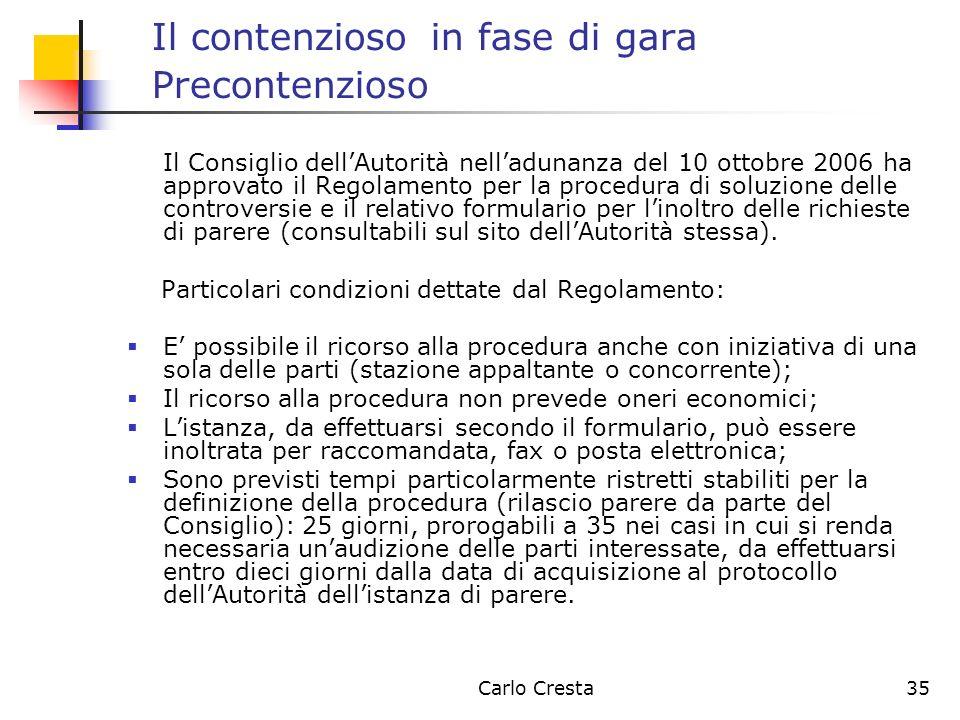 Carlo Cresta35 Il contenzioso in fase di gara Precontenzioso Il Consiglio dellAutorità nelladunanza del 10 ottobre 2006 ha approvato il Regolamento pe