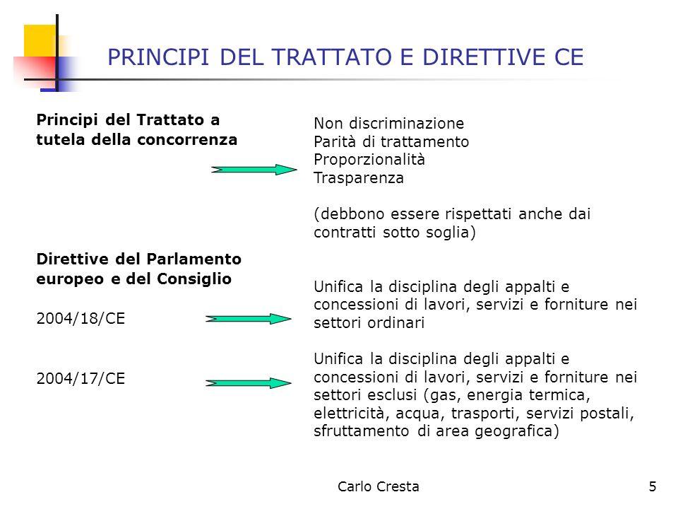 Carlo Cresta6 PRINCIPI DEL TRATTATO E DIRETTIVE CE La Corte di Giustizia europea ha più volte chiarito che, benché le norme comunitarie si applichino in maniera puntuale al di sopra di soglie di importo ben definite, non volendo così procedimentalizzare in maniera rigorosa anche gli appalti di minore entità, non vi può essere per questi ultimi una completa elusione di quelli che sono i principi comunitari di concorrenzialità.