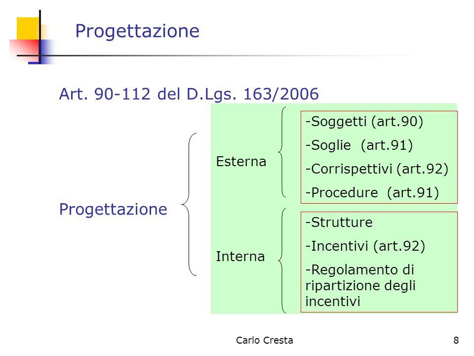 Carlo Cresta8 Progettazione Art. 90-112 del D.Lgs. 163/2006 Progettazione Esterna Interna -Soggetti (art.90) -Soglie (art.91) -Corrispettivi (art.92)