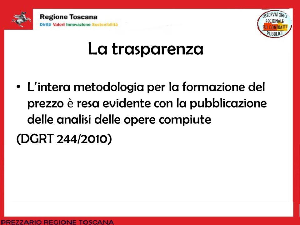 La trasparenza L intera metodologia per la formazione del prezzo è resa evidente con la pubblicazione delle analisi delle opere compiute (DGRT 244/201