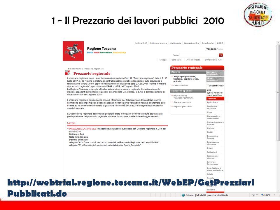 1 - Il Prezzario dei lavori pubblici 2010 http://webtrial.regione.toscana.it/WebEP/GetPrezziari Pubblicati.do