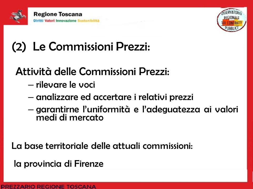 (2) Le Commissioni Prezzi: Attività delle Commissioni Prezzi: – rilevare le voci – analizzare ed accertare i relativi prezzi – garantirne luniformità