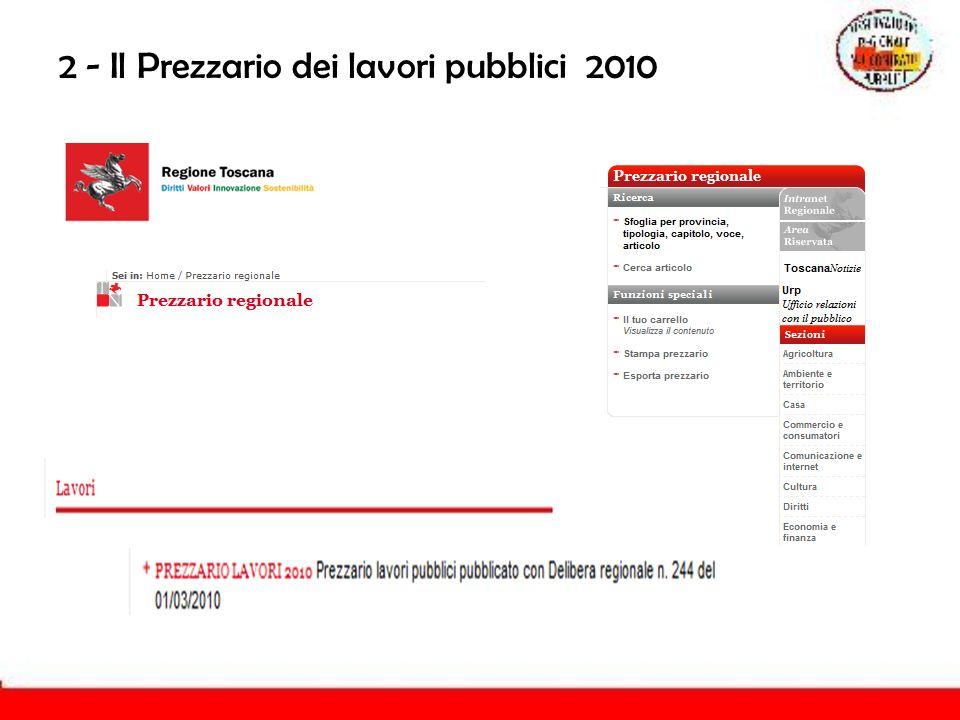 2 - Il Prezzario dei lavori pubblici 2010